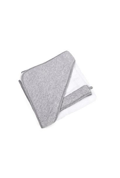 Hooded towel + washcloth Poetree Star Grey Melange