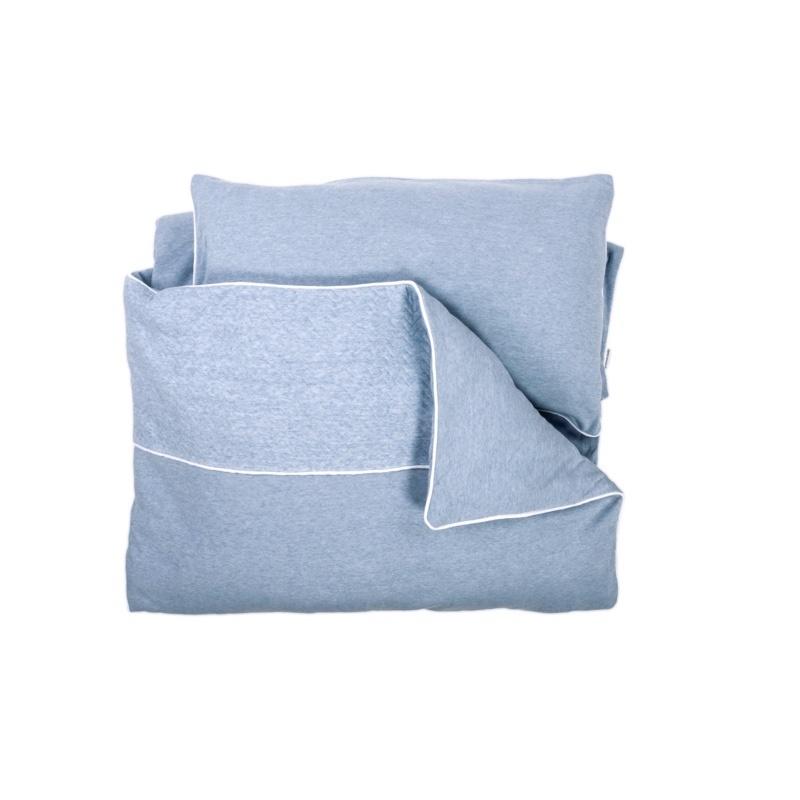 Donsovertrek bed met sloop Poetree Chevron Denim Blue Collection-1