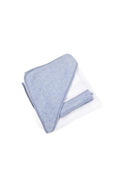 Hooded towel + washcloth Poetree Chevron Denim Blue Collection
