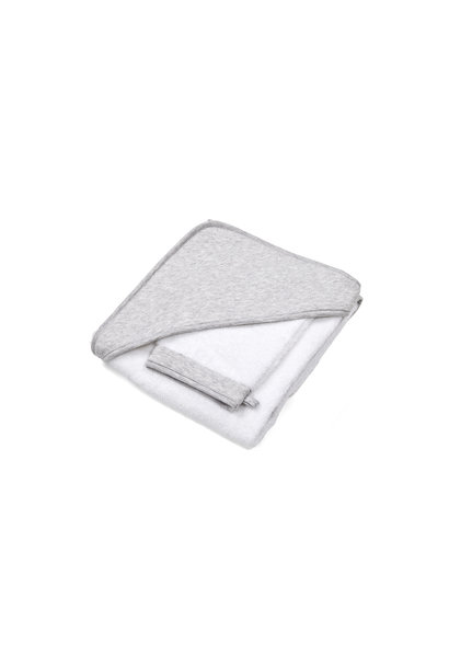 Hooded towel + washcloth Poetree Chevron Light Grey Melange