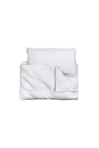 Quilt cover and pillowcase Poetree Chevron Light Grey Melange