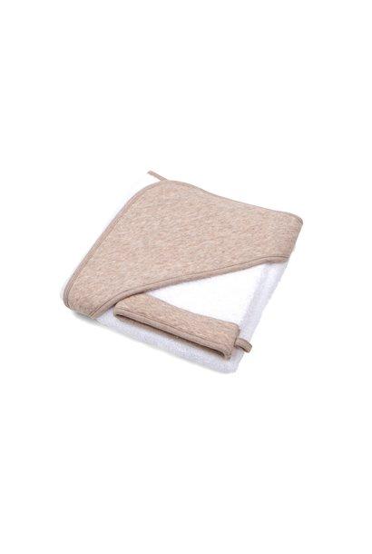 Hooded towel + washcloth Chevron Light Camel