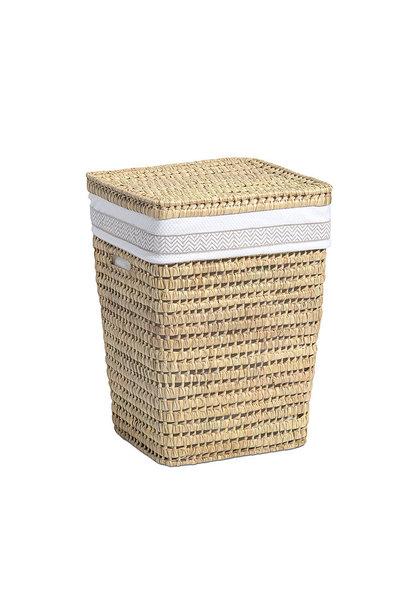 Linen basket Ethnic white