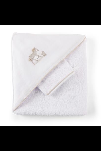 Hooded towel + washcloth Safari