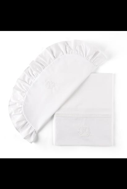 Laken wieg + sloop Cotton white