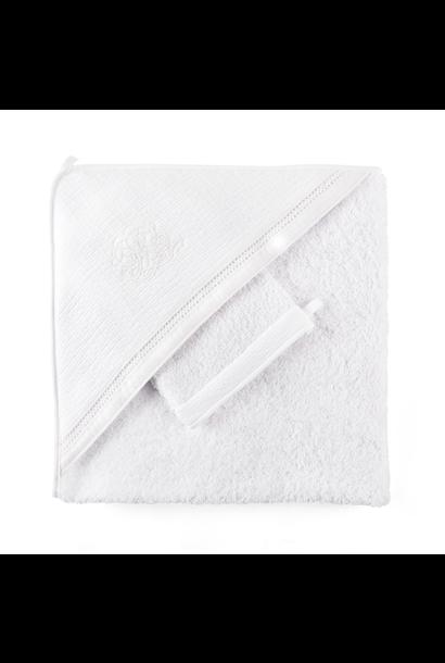 Badcape + washandje Cotton white