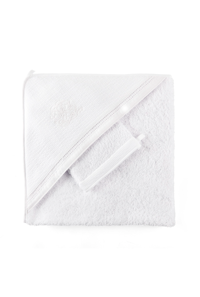 Hooded towel + washcloth Cotton white