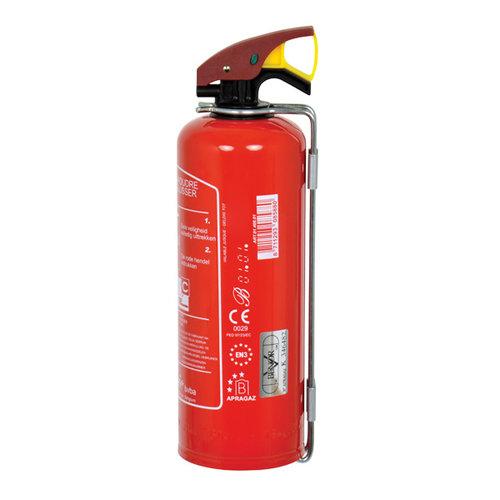 Carpoint 1 Kilogram poeder brandblusser voor het blussen van brand in de brandklasse B (vloeibare stoffen) en C (gassen). Niet geschikt voor het blussen van vetten zoals frituurvet of bakolie. Conform Belgische norm BENOR 2026. Deze brandblusser is specifiek voor