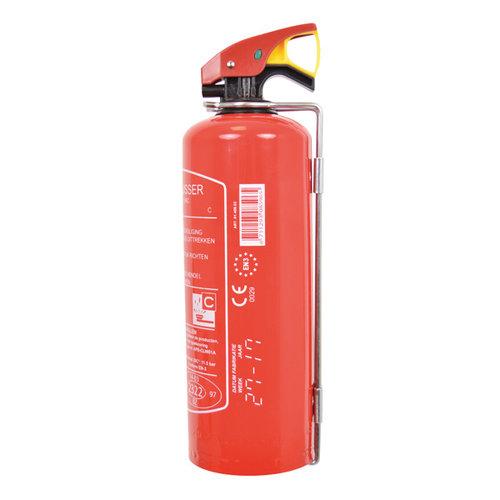 Carpoint 1 Kilogram poeder brandblusser met co2 patroon. Voor het blussen van brand in de brandklasse A (vaste stoffen), B (vloeibare stoffen) en C (gassen). Niet geschikt voor het blussen van vetten zoals frituurvet of bakolie. De brandblusser wordt geleverd met