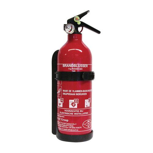 Carpoint 1 Kilogram poeder brandblusser met manometer. Voor het blussen van brand in de brandklasse A (vaste stoffen), B (vloeibare stoffen) en C (gassen). Niet geschikt voor het blussen van vetten zoals frituurvet of bakolie. Door de manometer is te zien of de dr