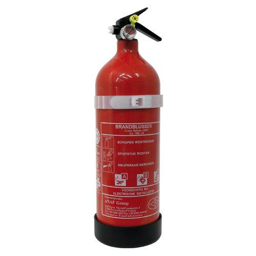 Carpoint 2 Liter schuim brandblusser met manometer. Voor het blussen van brand in de brandklasse A (vaste stoffen), B (vloeibare stoffen) en F (frituurolie en vetten). Door de manometer is te zien of de druk van het drijfgas nog voldoende is om de blusser te activ