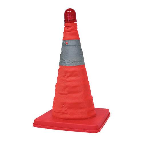 Carpoint Carpoint uitschuifbare veiligheidspilon met opvallende oranje kleur en reflecterende strepen rondom. Knipperende LED aan bovenkant van de pilon. Uitschuifbaar tot een hoogte van 39cm. Compact inschuifbaar tot 4 cm. Afmeting voet 25x25cm. Inclusief handige