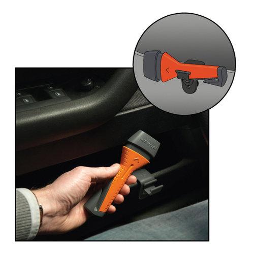 Lifehammer Noodhamer met ultra-harde keramische kop. Door de noodhamer tegen het raam aan te duwen, breekt het raam eenvoudig en zal automatisch herladen. Ingebouwd mes voor het doorsnijden van gordels. Het meegeleverde QUICK CLICK-systeem zorgt ervoor dat de noodha