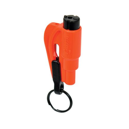 ResQMe De sleutelhanger die uw leven kan redden. Vlijmscherp mes snijdt autogordel door en de slagpin verbrijzelt de autoruit.