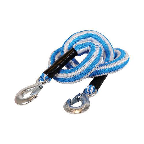 Jumbo Jumbo sleepkabel stretch 2500kg. Blauw/wit met twee haken. Verpakt in tas met rits en Jumbo kleur-leaflet. Extra veiligheidsvlag en instructies.
