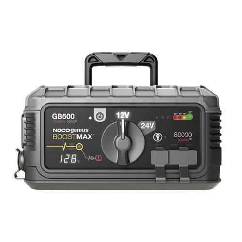 Noco genius 20.000 ampère 12/24 Volt jumpstarter voor lithium-ion accu's. Veilige vonkvrije verbinding en bescherming tegen omgekeerde polariteit. Ingebouwde Voltmeter, voedingen voor het opladen van 12V en USB apparaten en LED-lamp met 7 functies.