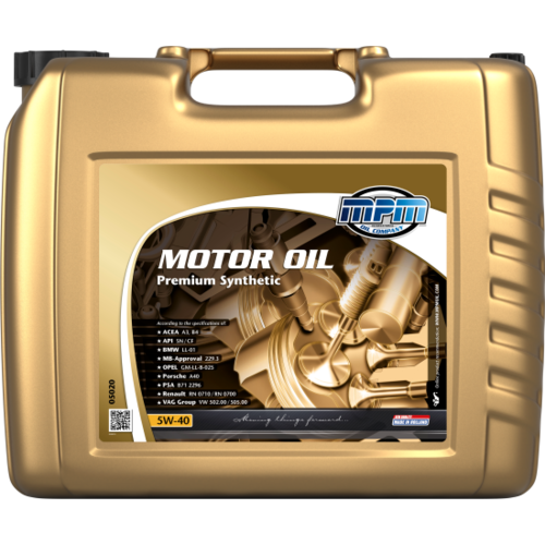 MPM MOTOR OIL 5W-40 PREMIUM SYNTHETIC 20 LITER 05020