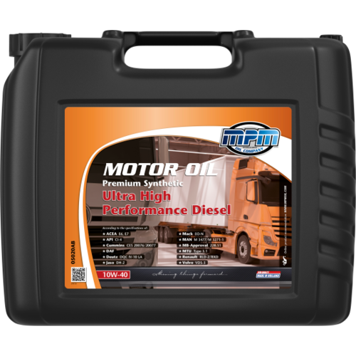 MPM MOTOR OIL 10W-40 PREMIUM SYNTHETIC ULTRA HIGH PERFORMANCE DIESEL 20 LITER 05020AB
