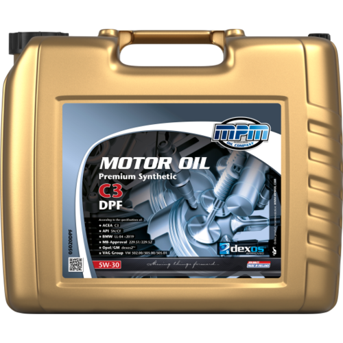 MPM MOTOR OIL 5W-30 PREMIUM SYNTHETIC C3 DPF 20 LITER 05020DPF