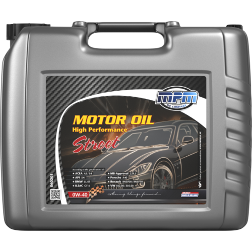 MPM MOTOR OIL 0W-40 HIGH PERFORMANCE STREET 20 LITER 06020S