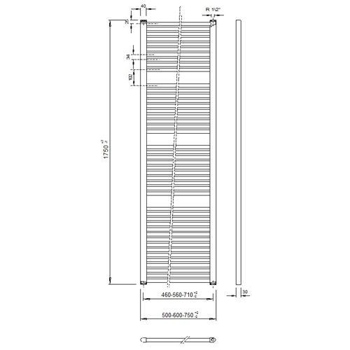 Veraline Economy Handdoekradiator.Veraline Economy Handdoekradiator 1750x500 Cvtopper Nl