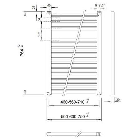 VeraLine Economy handdoekradiator 764 hoog x 600 breed