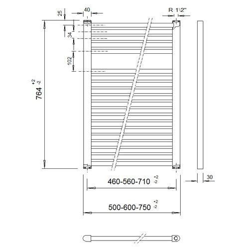 Veraline Economy Handdoekradiator.Economy Handdoekradiator 764 Hoog X 600 Breed