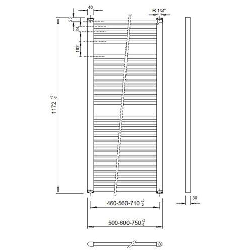 Veraline Economy Handdoekradiator.Economy Handdoekradiator 1172 Hoog X 600 Breed