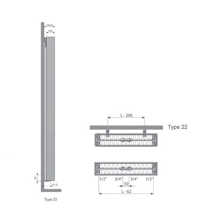 Thermrad Vertical Line Plateau 2000 hoog x 500 breed - type 22