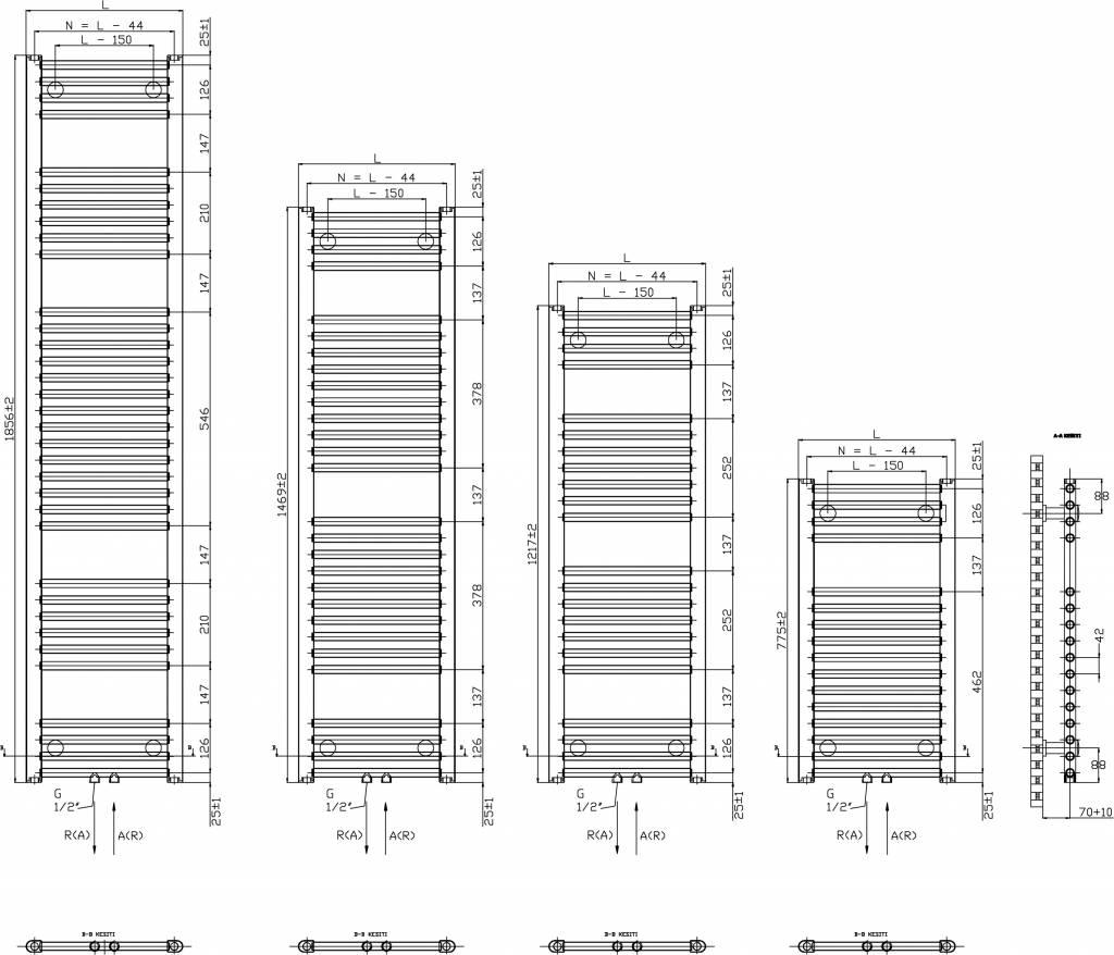 Veraline Economy Handdoekradiator.Basic 6 775 Hoog X 500 Breed Wit