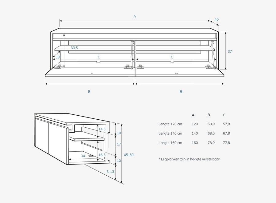 Ambiance zwevend tv meubel met 2 kleppen en greeplijst in eiken fineer gelakt
