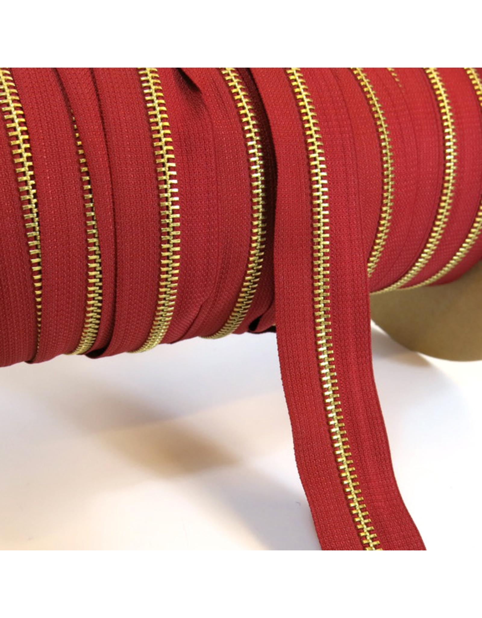Zipper gold DEEP RED