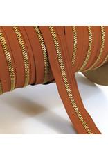 Zipper gold COGNAC