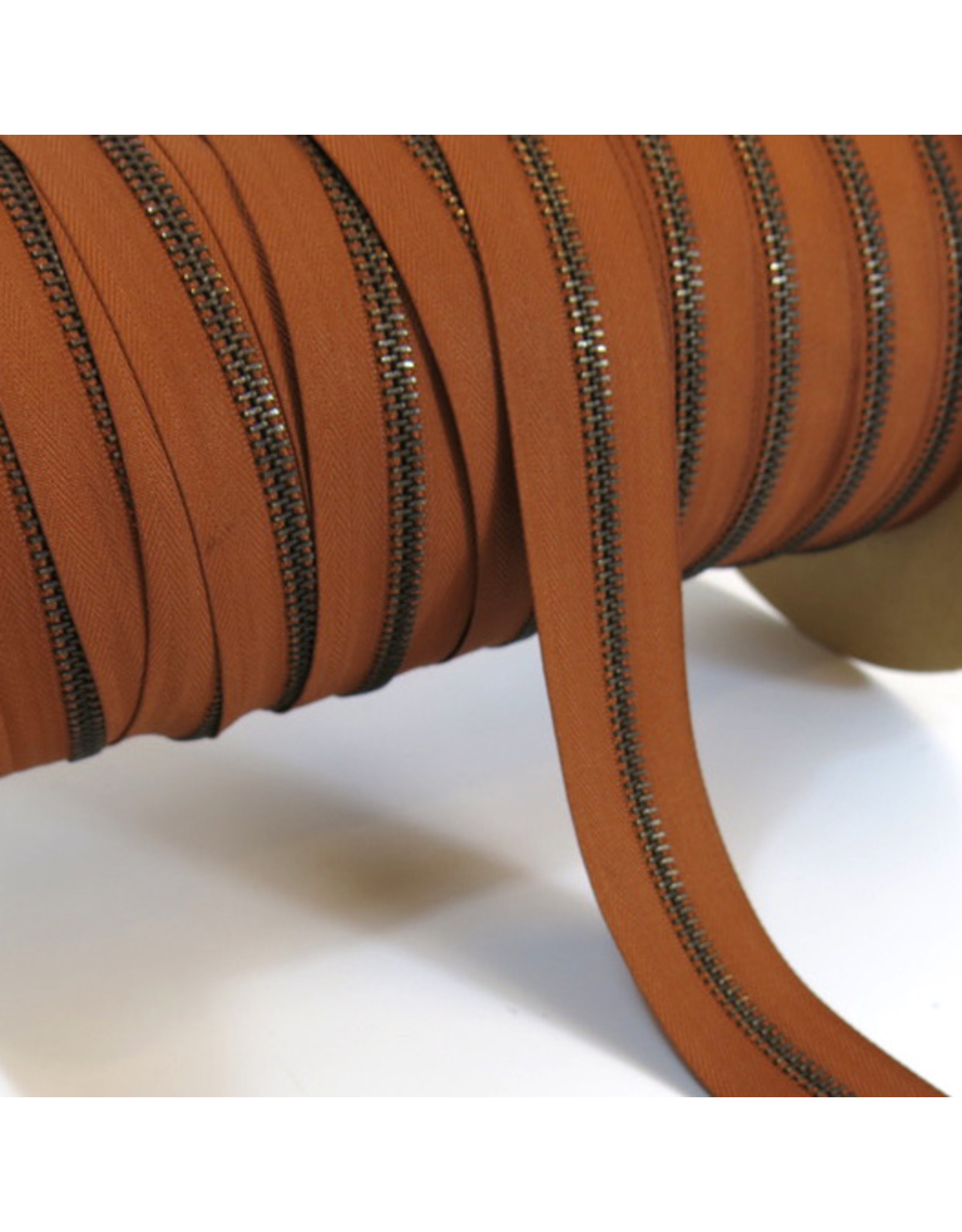 Zipper antique brass COGNAC