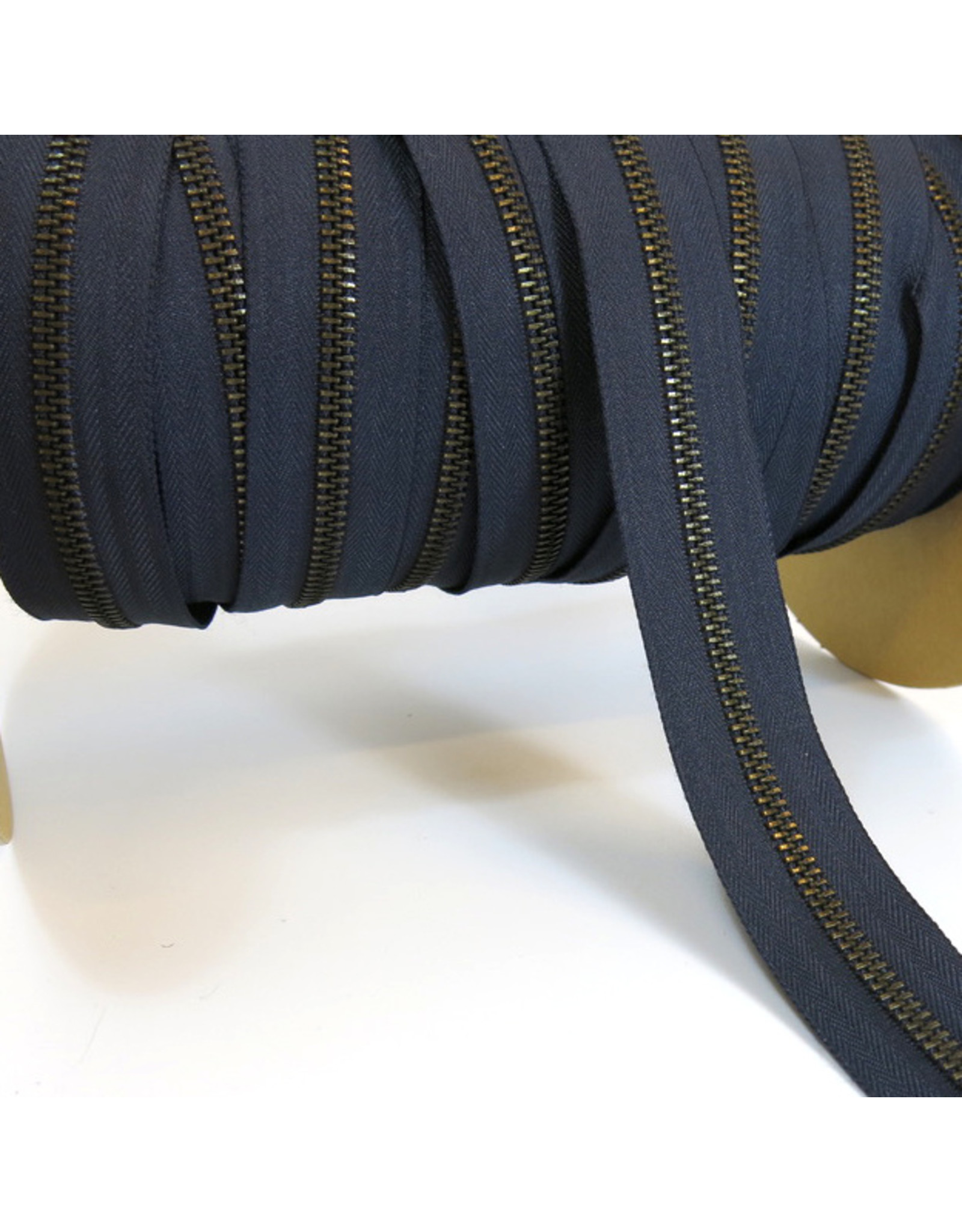 Zipper antique brass MARINE BLUE