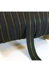 Zipper antique brass BLACK