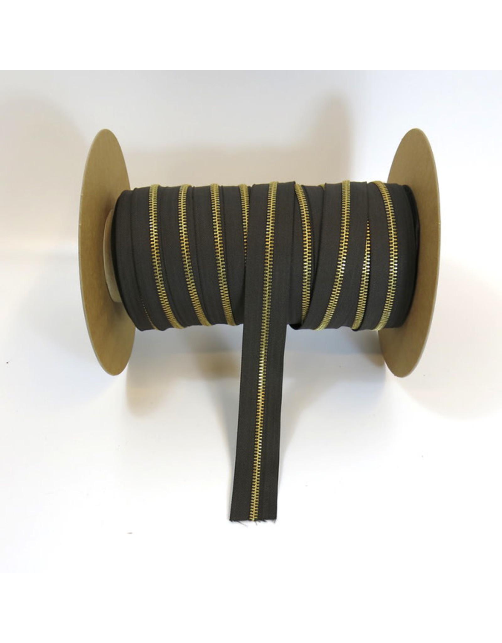 Zipper gold CACAOBROWN