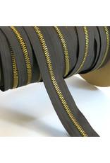 Zipper gold DARK BROWN