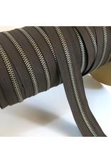 Zipper nickel DARK BROWN