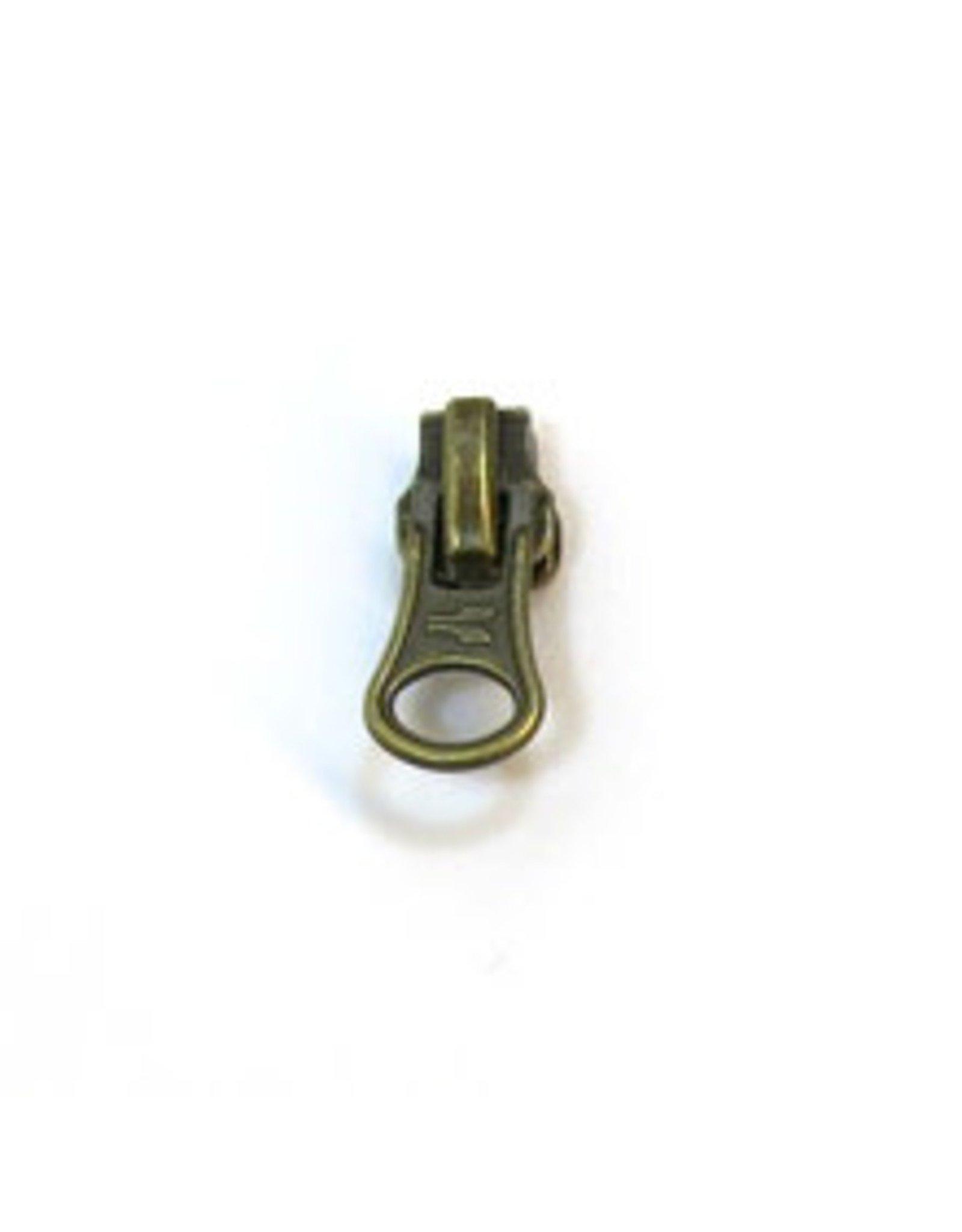 Zipper pull antique brass