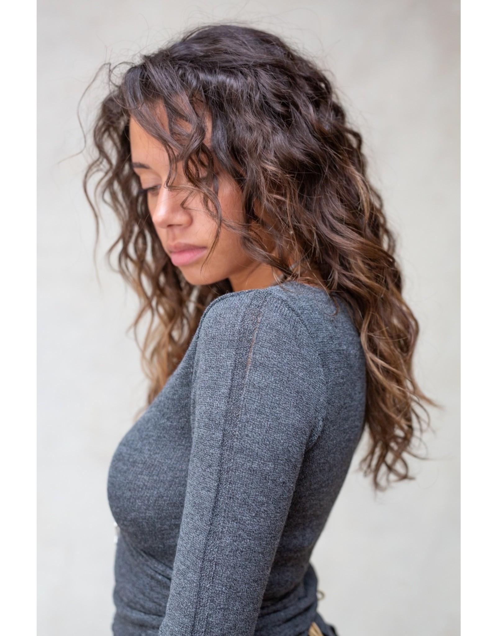 MW Gina Wrap Top Stone Grey