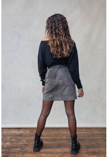 MW River Leather Buckle Skirt Stone Grey