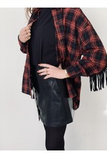 CR Moon Small Check Blouse Black and Red