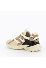 Vanessa Wu BEIGE AND TAUPE MESH SNEAKERS WITH GROSGRAIN STRAPS