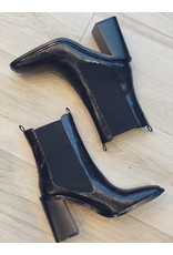 Vanessa Wu BLACK SNAKESKIN EFFECT ANKLE BOOTS WITH HIGH UPPER