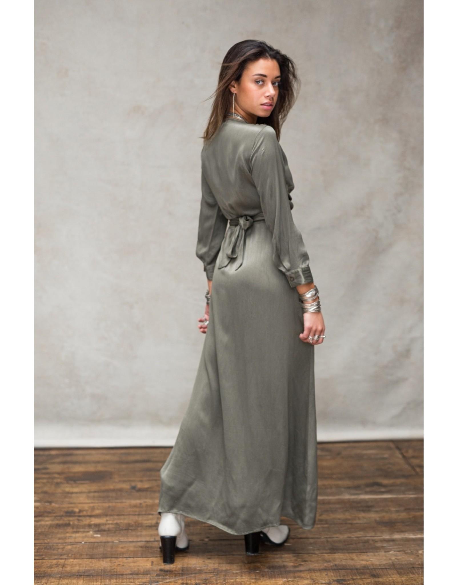 MW JULES SATIN WRAP DRESS - SENSUAL GREEN