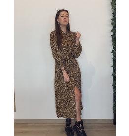 Kera Leopard Maxi Shirt Dress Brown