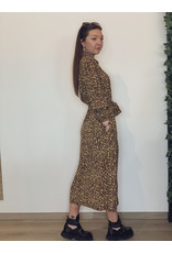 Kera Leopard Maxi Shirt Dress Brown