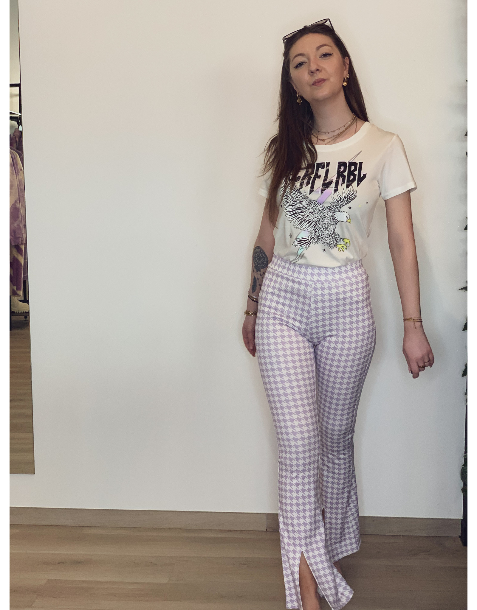 Darcy Dogtooth Dlare Pants OffWhite/Lilac