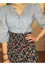 Eline Broderie Anglaise Blouse Blue